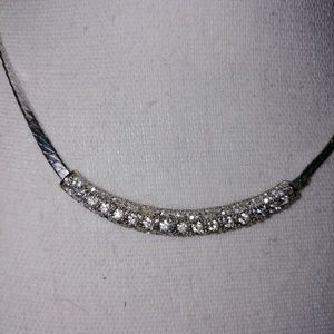 Silver necklace with clear stones in Center